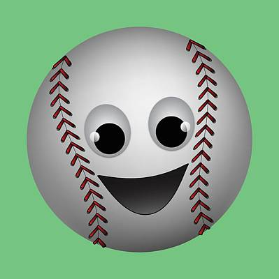 Digital Art - Fun Baseball Character by MM Anderson