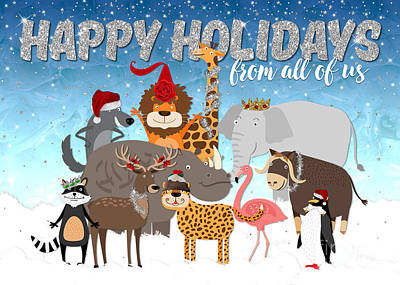 Raccoon Digital Art - Christmas Card From All Of Us - Happy Holidays Cartoon Animals by Natalie Kinnear