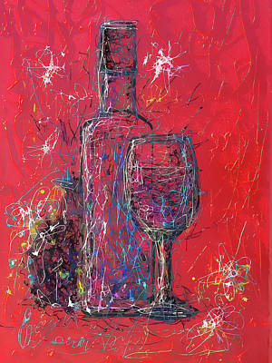 Digital Art - Fun Colorful Modern Wine Art 2 by OLena Art Brand