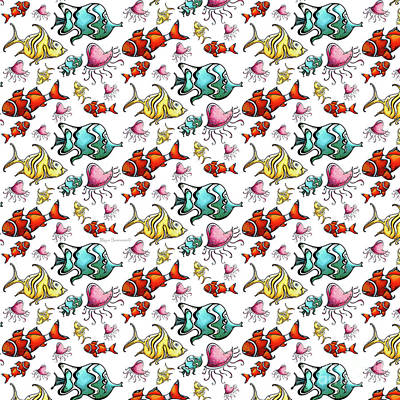 Fun Colorful Tropical Fish Pattern For Kids By Megan Duncanson Art Print