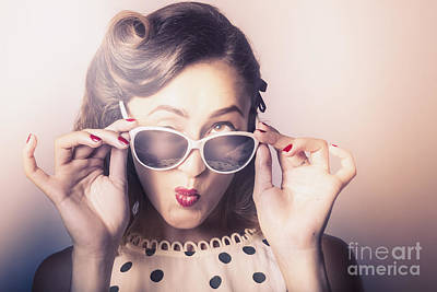 Fun Comical Retro Fashion Portrait. Pin-up Pout Print by Jorgo Photography - Wall Art Gallery