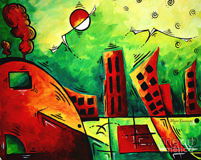 Fun Contemporary Abstract Pop Art Style Cityscape Landscape Evergreen By Madart Art Print by Megan Duncanson