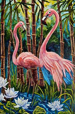 Painting - Fun Flamingos by Sebastian Pierre