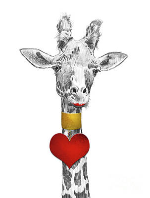 Long Necklace Digital Art - Fun Giraffe All Dressed Up With Lipstick And Heart Necklace by Apostrophe Art