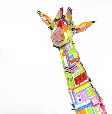 Fun Giraffe Oil Painting By Kim Guthrie Original