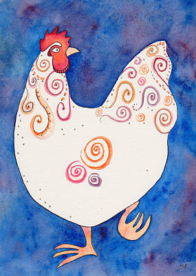 Rosedahl Mixed Media - Fun Hen 1 by Sarah Rosedahl