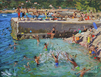 Croatia Painting - Fun In The Sea, Rovinj, Croatia  by Andrew Macara