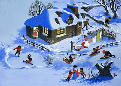 Fun In The Snow Art Print by English School
