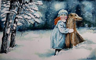 Fun In The Snow Art Print