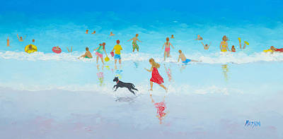 Children Playing On Beach Painting - Fun In The Sun by Jan Matson