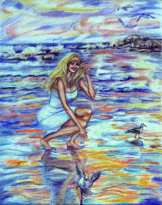 Ocean Sunset Drawing - Fun In The Sun by Yelena Rubin