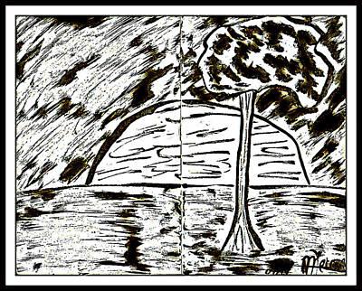 Drawing - Fun In Trees 1 by Mario Perron