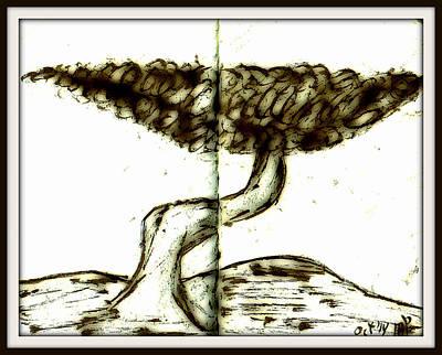 Drawing - Fun In Trees 11 by Mario Perron