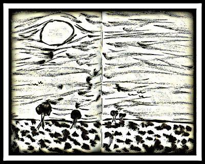Drawing - Fun In Trees 2 by Mario Perron
