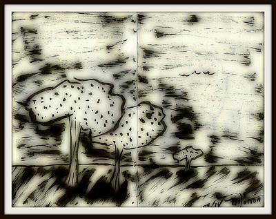 Drawing - Fun In Trees 5 by Mario Perron