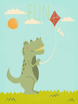 Dinosaur Digital Art - Fun by Nicole Wilson