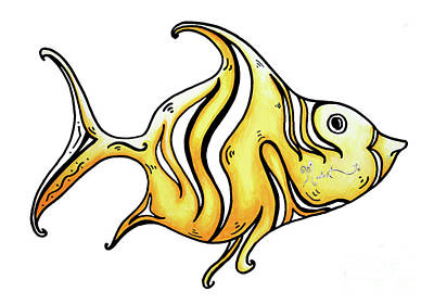 Fish Painting - Fun Whimsical Yellow Fish Icon Design By Megan Duncanson by Megan Duncanson