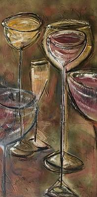 Painting - Fun Wine Glasses by Chuck Gebhardt