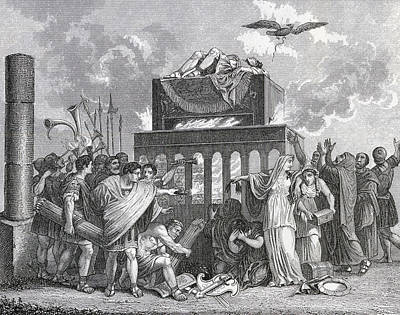 Cremation Drawing - Funeral Of An Emperor In Ancient Rome by Vintage Design Pics