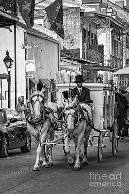 Photograph - Funeral Procession French Quarter - Nola - Bw by Kathleen K Parker