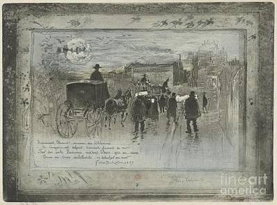 The Boulevards Painting - Funeral Procession On The Boulevard De Clichy by Celestial Images