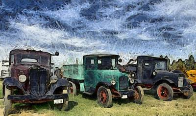 Digital Art - Funky Antique Trucks Montana by Floyd Snyder
