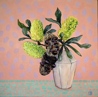 Painting - Funky Banksia Still Life Painting by Chris Hobel