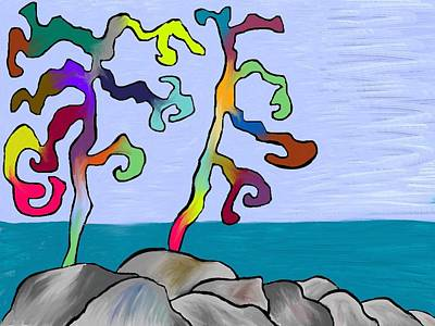 Digital Art - Funky Beach Trees by Paula Brown