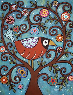 Folk Art Flowers Painting - Funky Bird by Karla Gerard