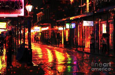 French Street Scene Digital Art - Funky Bourbon Street Colors by John Rizzuto