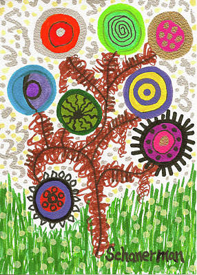 Arty Drawing - Funky Bubble Tree by Susan Schanerman