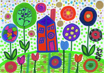 Uplifting Drawing - Funky Country by Susan Schanerman