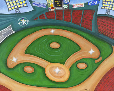 Fenway Park Boston Painting - Funky Fenway by Melissa Fassel Dunn