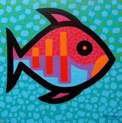Colourful Fish Painting - Funky Fish IIi  by John  Nolan
