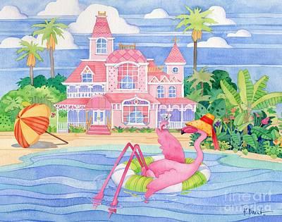 Funky Flamingo Hotel I Art Print by Paul Brent