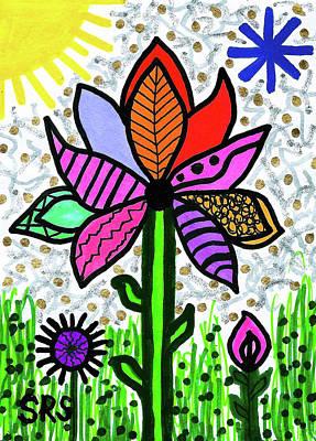 Drawing - Funky Flower Mod Pop by Susan Schanerman
