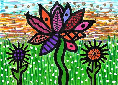 Drawing - Funky Flowers At Sunset by Susan Schanerman