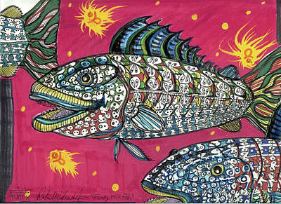Contemporary Tribal Art Painting - Funky Folk Fish by Robert Wolverton Jr