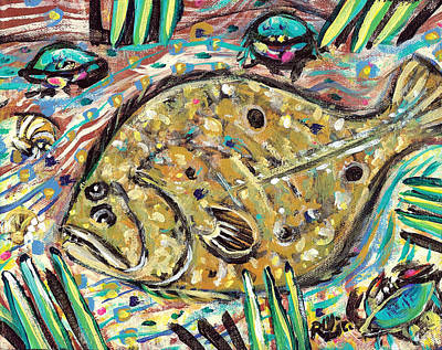 Contemporary Beach Painting - Funky Folk Flounder by Robert Wolverton Jr