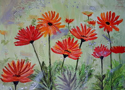 Painting - Funky Gerbera Daisies by Betty-Anne McDonald