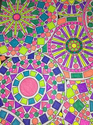 Kaleidoscope Drawing - Funky Kaleidoscope by FN Nelson