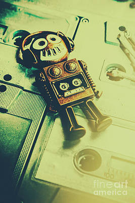 Listening Photograph - Funky Mixtape Robot by Jorgo Photography - Wall Art Gallery