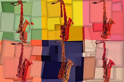 Mixed Media - Funky Saxophones by Dan Sproul