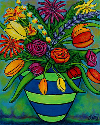 Gerber Daisy Painting - Funky Town Bouquet by Lisa  Lorenz