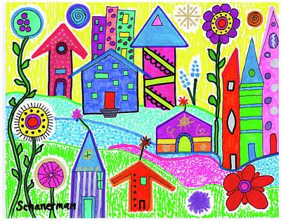 Uplifting Drawing - Funky Town 3 by Susan Schanerman