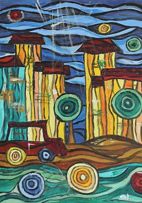 Art Print featuring the painting Funky Town by Sladjana Lazarevic