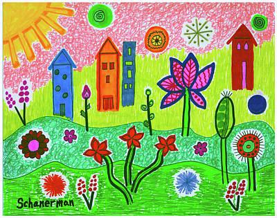 Uplifting Drawing - Funky Town by Susan Schanerman