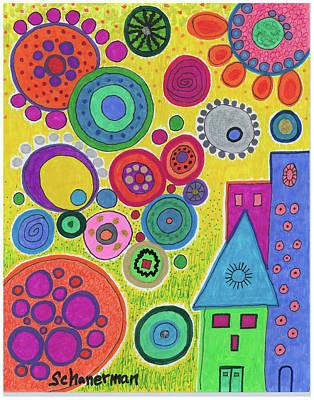 Uplifting Drawing - Funky Universe by Susan Schanerman