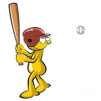 Player Digital Art - Funny Baseball Batter by Daniel Ghioldi