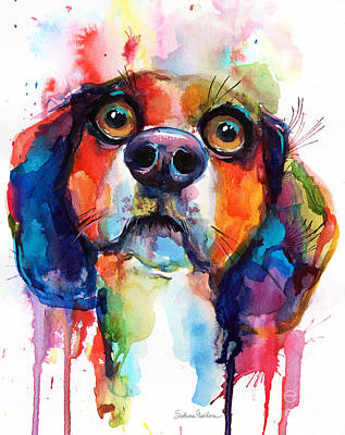 Painting - Funny Beagle Dog Art by Svetlana Novikova